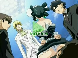Animated maid drilled by kinky group.