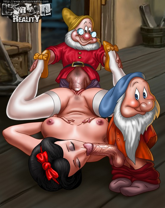 Snow White gets nailed by her prince and her dwarfs.